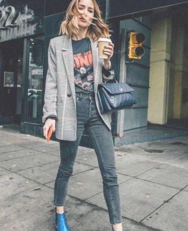 Fall street style fashion  Plaid Checkered Blazer Pinterest fromluxewithlove