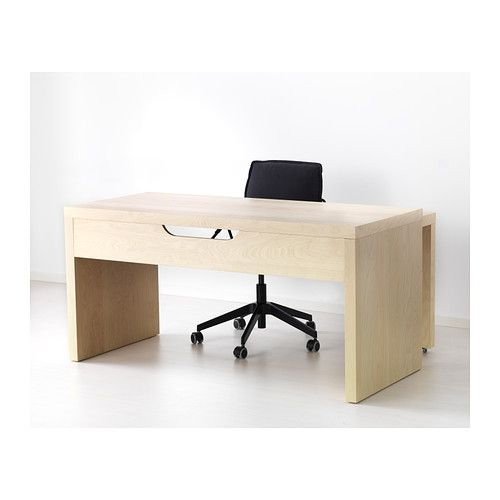 malm desk with pull out panel birch veneer ikea office fit out pinterest. Black Bedroom Furniture Sets. Home Design Ideas