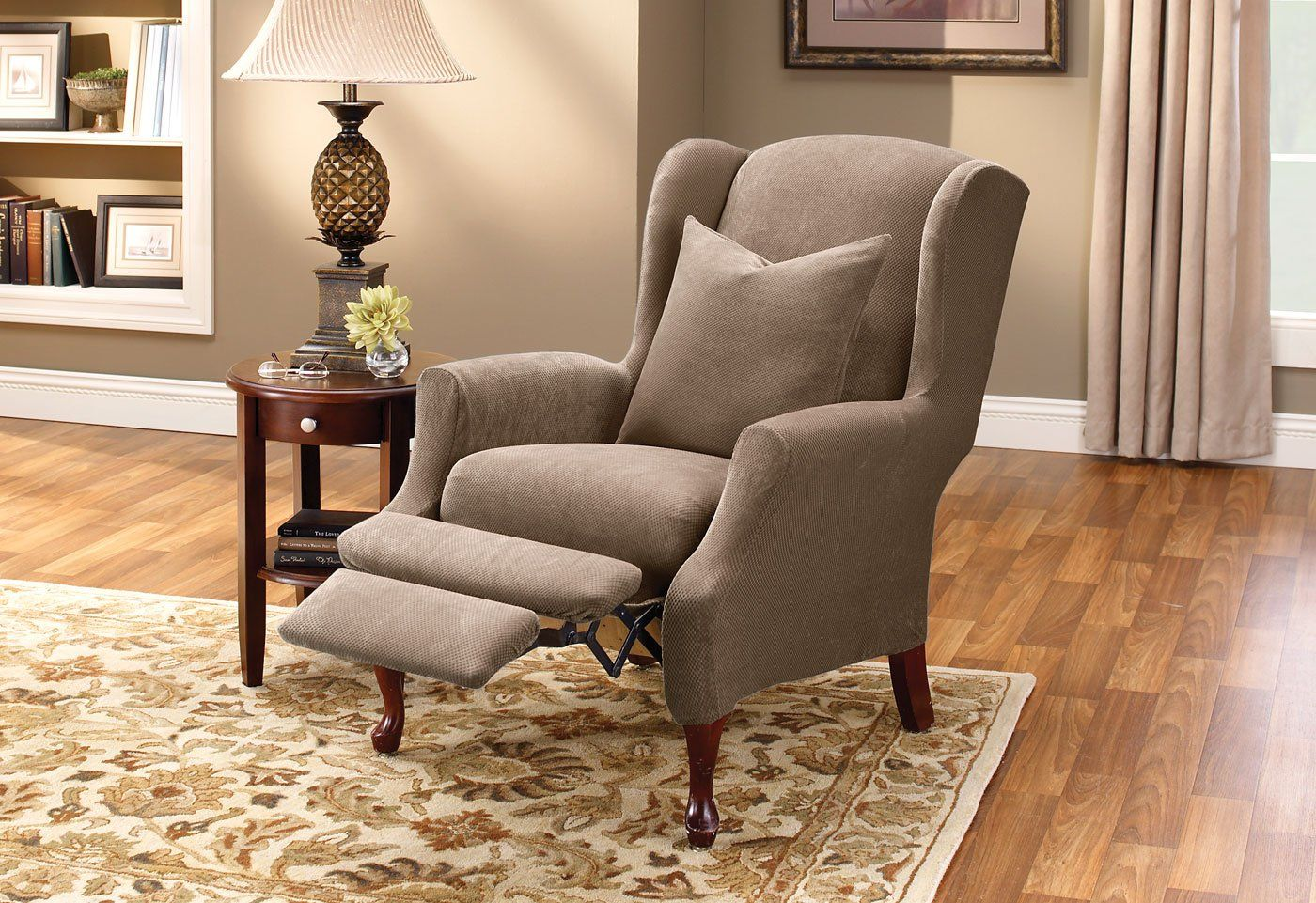 Stretch Pique Two Piece Wing Recliner Slipcover Form Fit Machine Washable With Images Slipcovers For Chairs Recliner Cover Recliner Slipcover