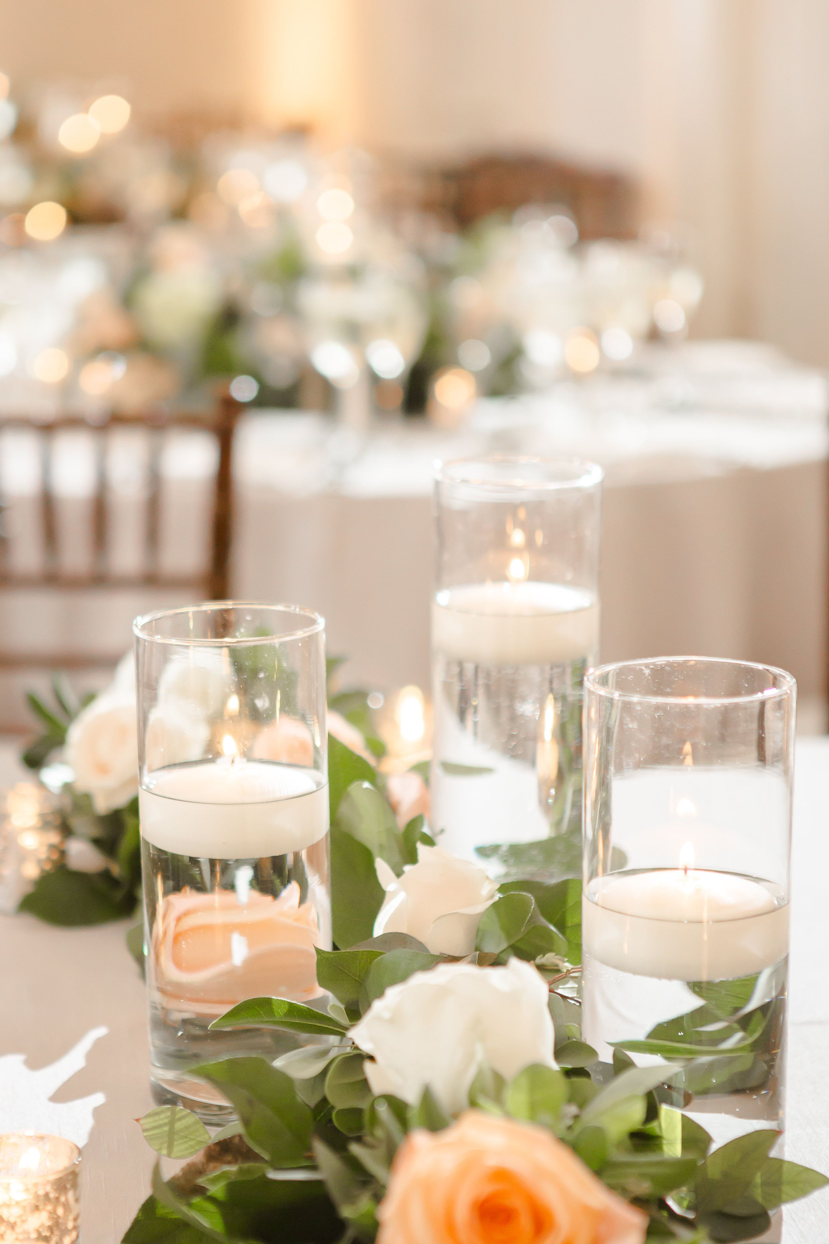 Floating candle centerpieces | soft green + peach outdoor wedding at ...