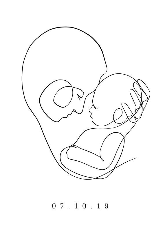 Baby Date Print Mum And Baby Line Art Birthday Print Mother And Baby Print Like Drawing Persona In 2020 Baby Art Line Art Baby Prints