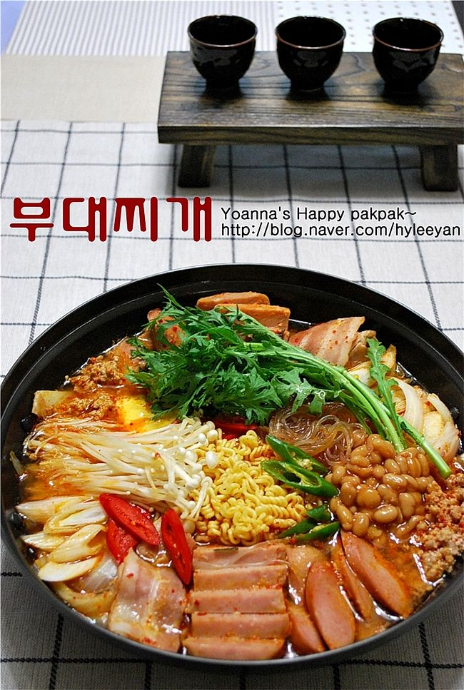 부대찌개 Korean style : Everything but kitchen sink stew ...