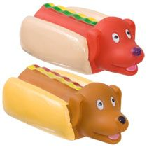 Bulk Vinyl Hot Dog Chew Toys With Squeakers 4 At Dollartree