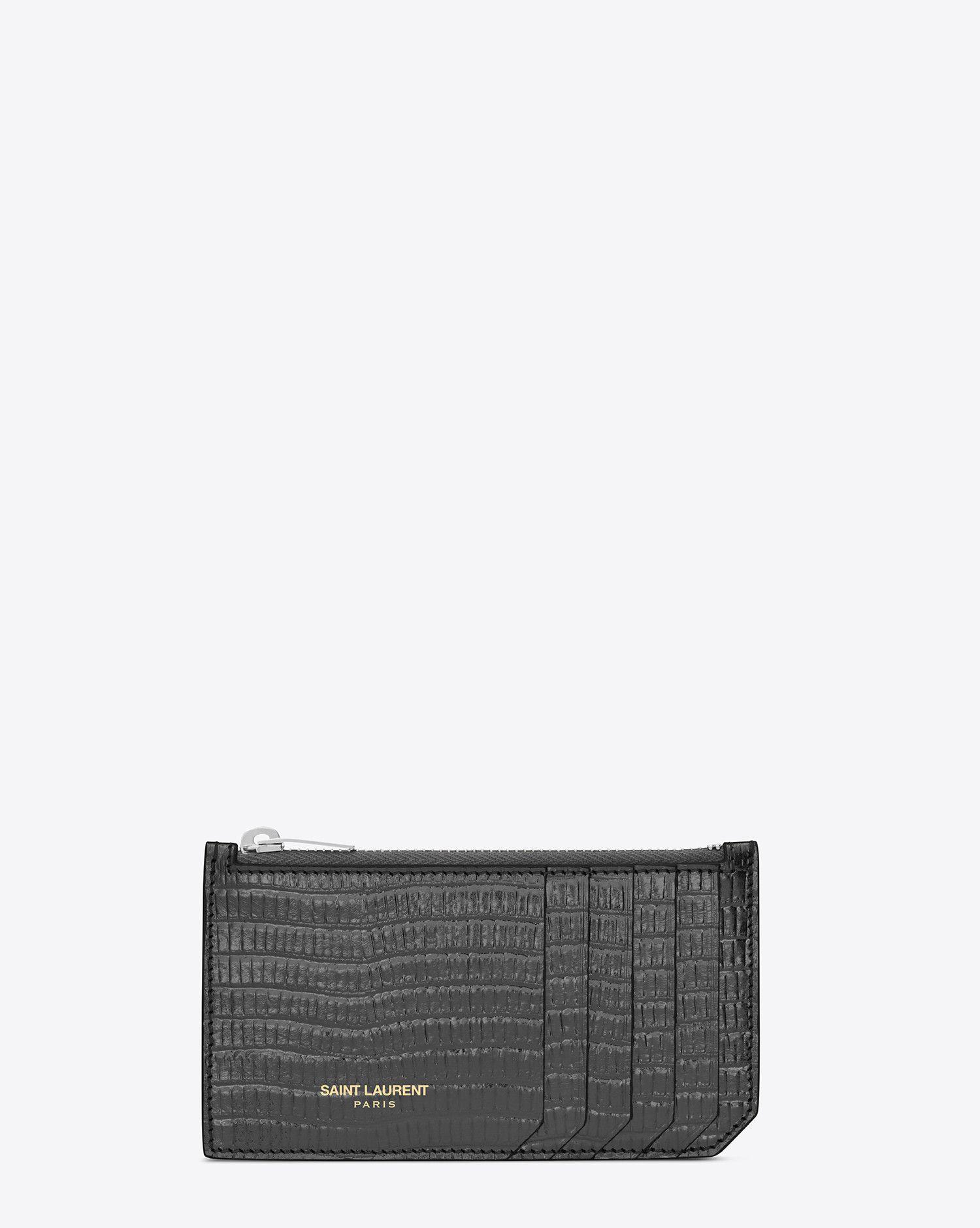 Saint Laurent Classic SAINT LAURENT 5 Fragments Zip Pouch In Graphite Lizard Textured Metallic Leather  