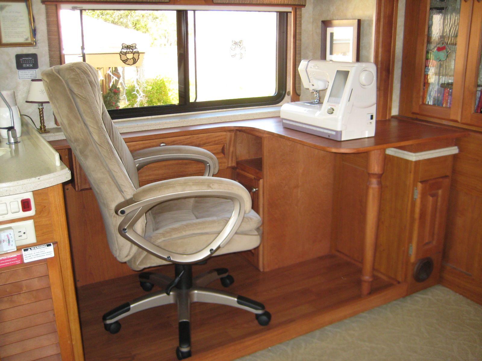 custom rv desk rv sewing cabinet rv ing pinterest sewing