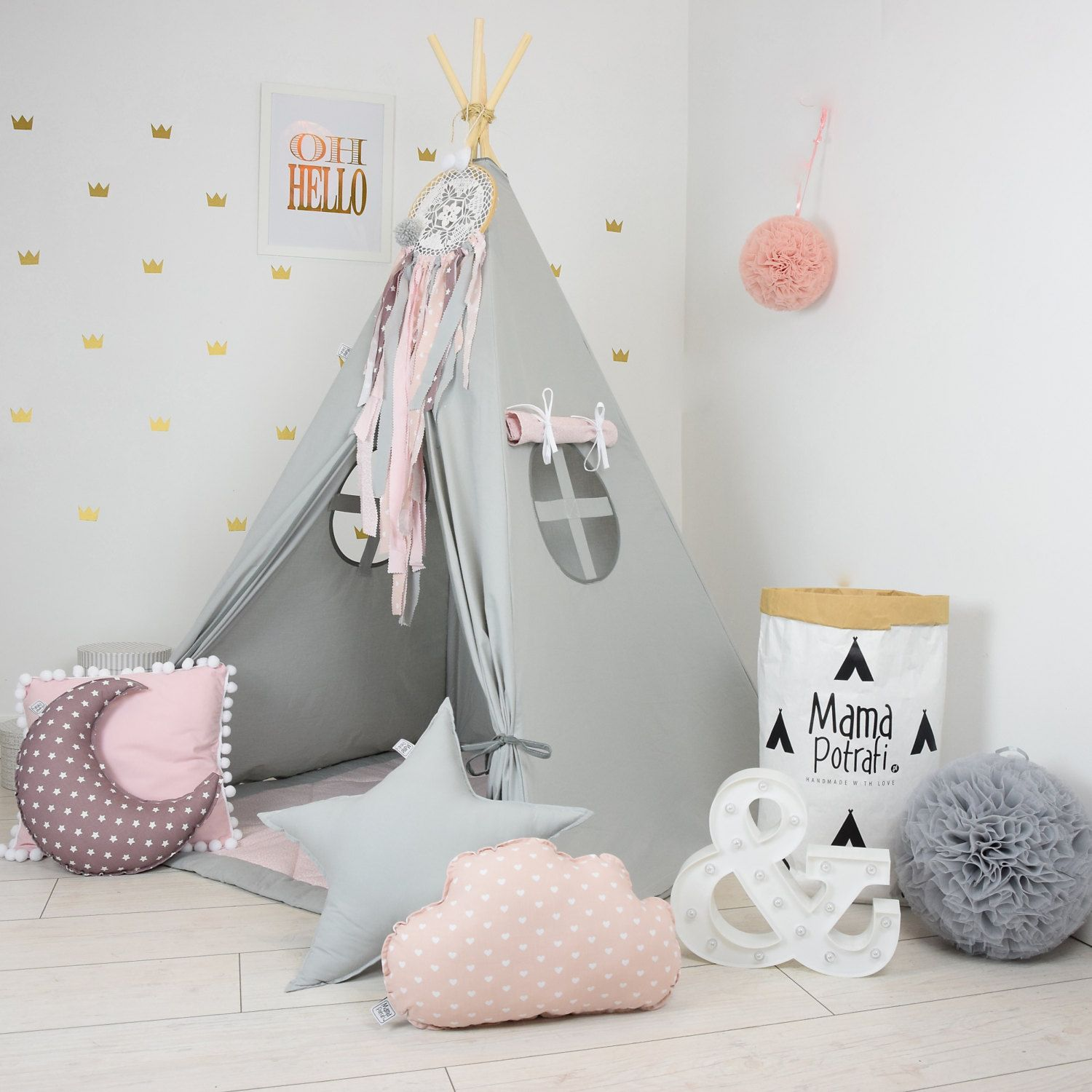 childrens teepee playtent tipi zelt wigwam kids teepee tent play teepee teepee with mat. Black Bedroom Furniture Sets. Home Design Ideas