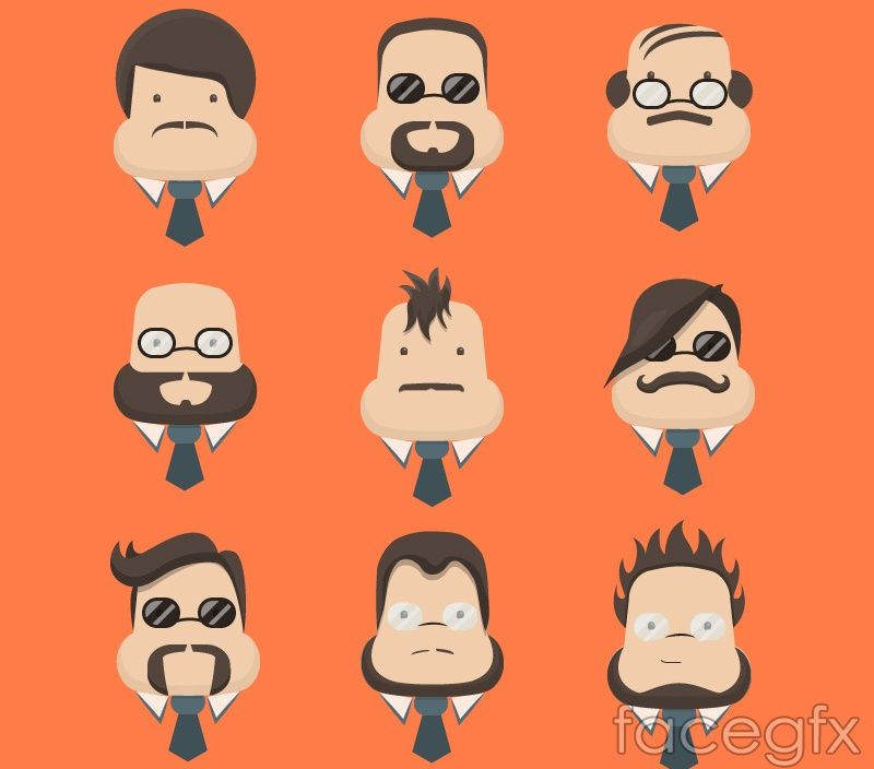9 business man portrait pear-shaped face vector
