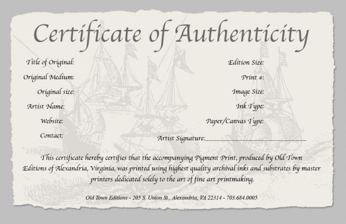 Certificate Of Authenticity Photography Templates Certificate Templates Certificate