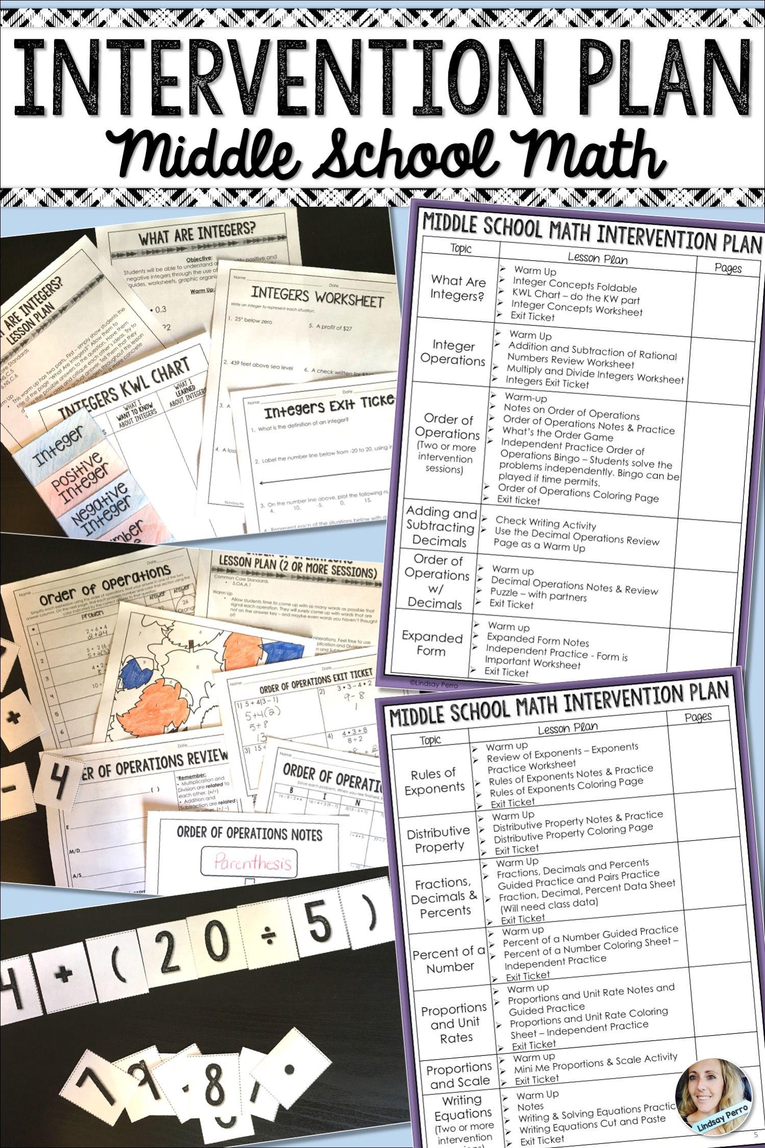 Math Intervention Plan Middle School Common Core