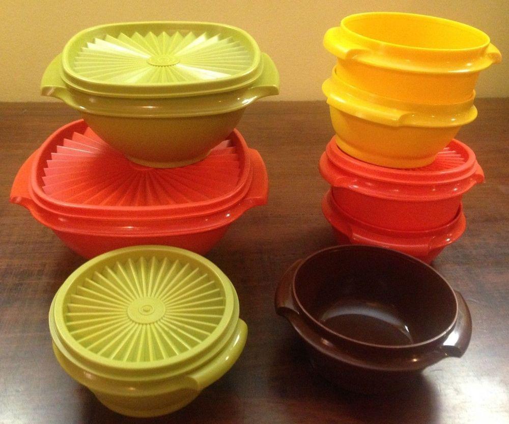 Vintage Tupperware Bowls Harvest Servalier Set Green Yellow Orange Brown
