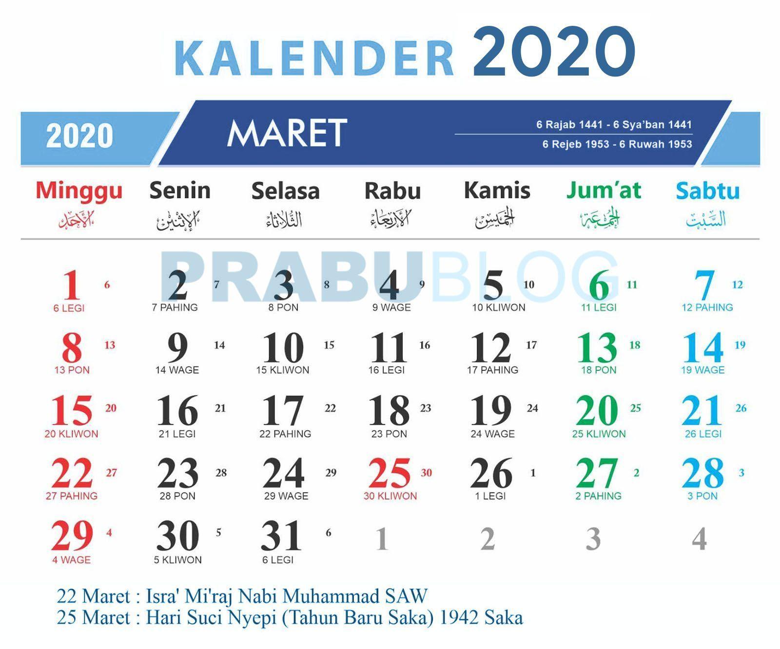Kalender Maret 2020 Nasional Dan Jawa Aplikasi Tanggal Kalender