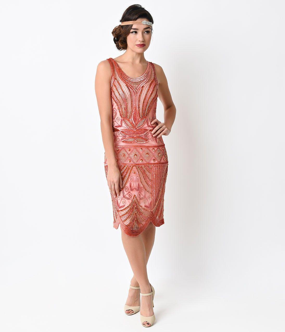 Unique Vintage 1920s Style Peach Pink Deco Beaded Caspian Flapper ...