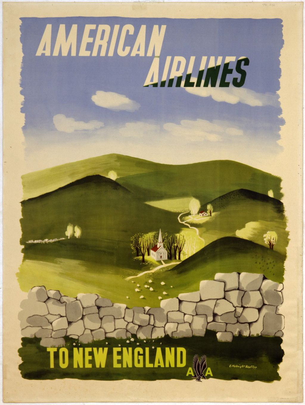 Design poster new - American Airlines Travel Poster New England 1947 1953 Design By Edward