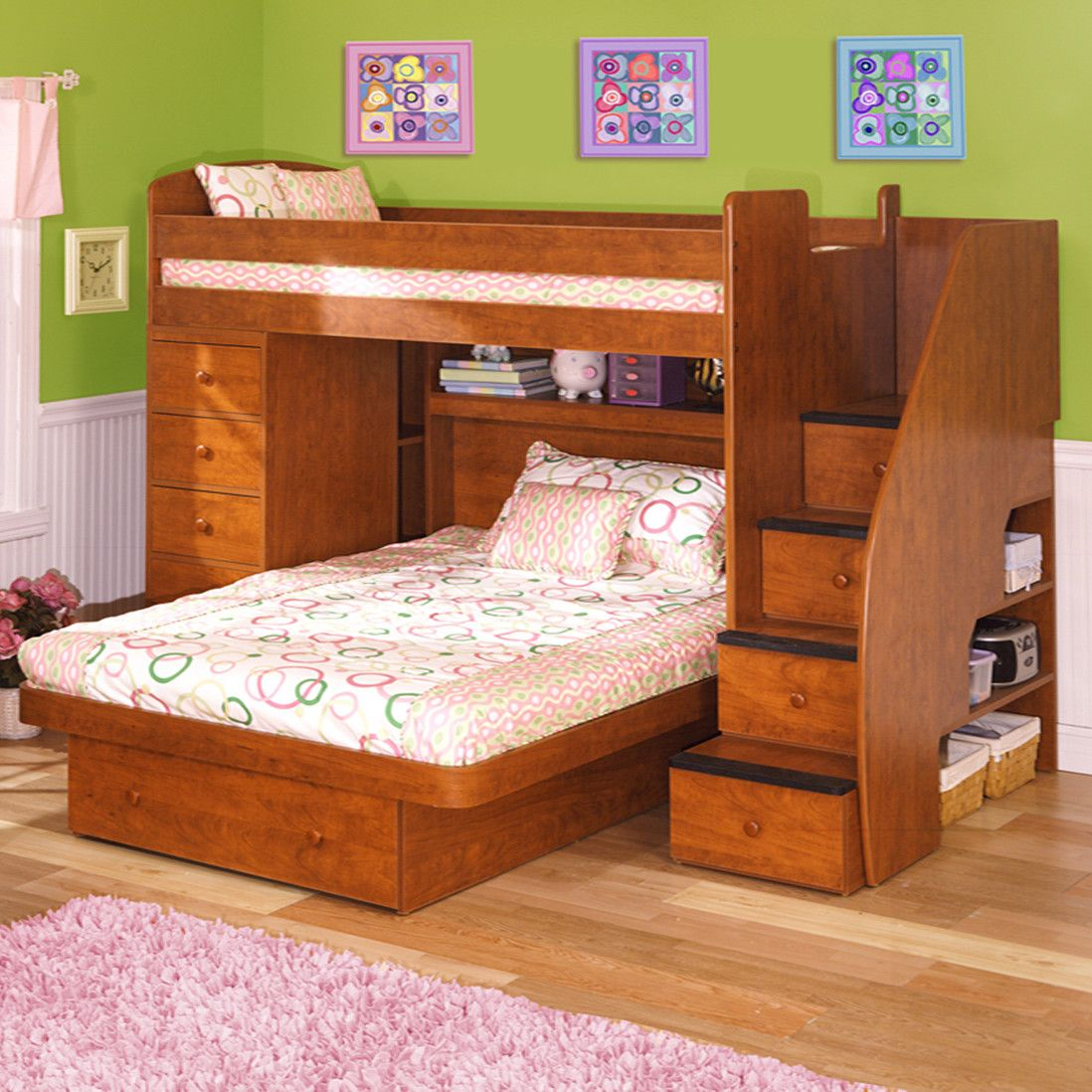 Berg Sierra Twin Over Full L Shaped Bunk Bed With Chest Stairs