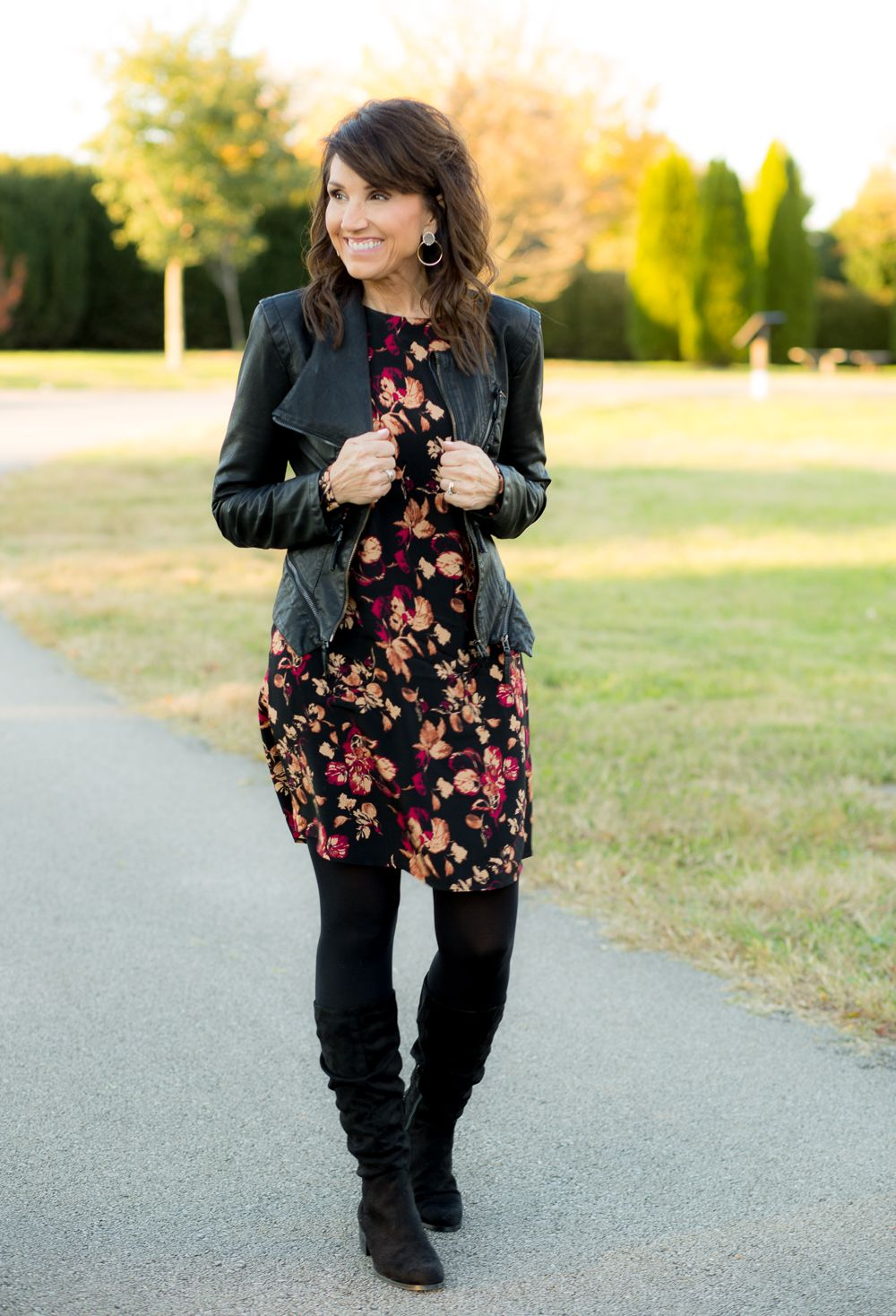 Slouchy Boot Trend Cyndi Spivey Black Floral Dress Outfit Fashion Dresses With Tights And Boots [ 1468 x 1000 Pixel ]
