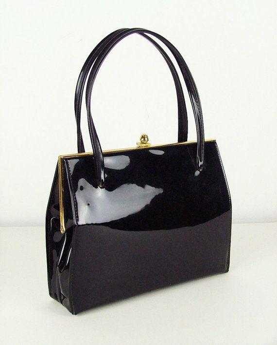 Black Patent 1960s Vintage Handbag