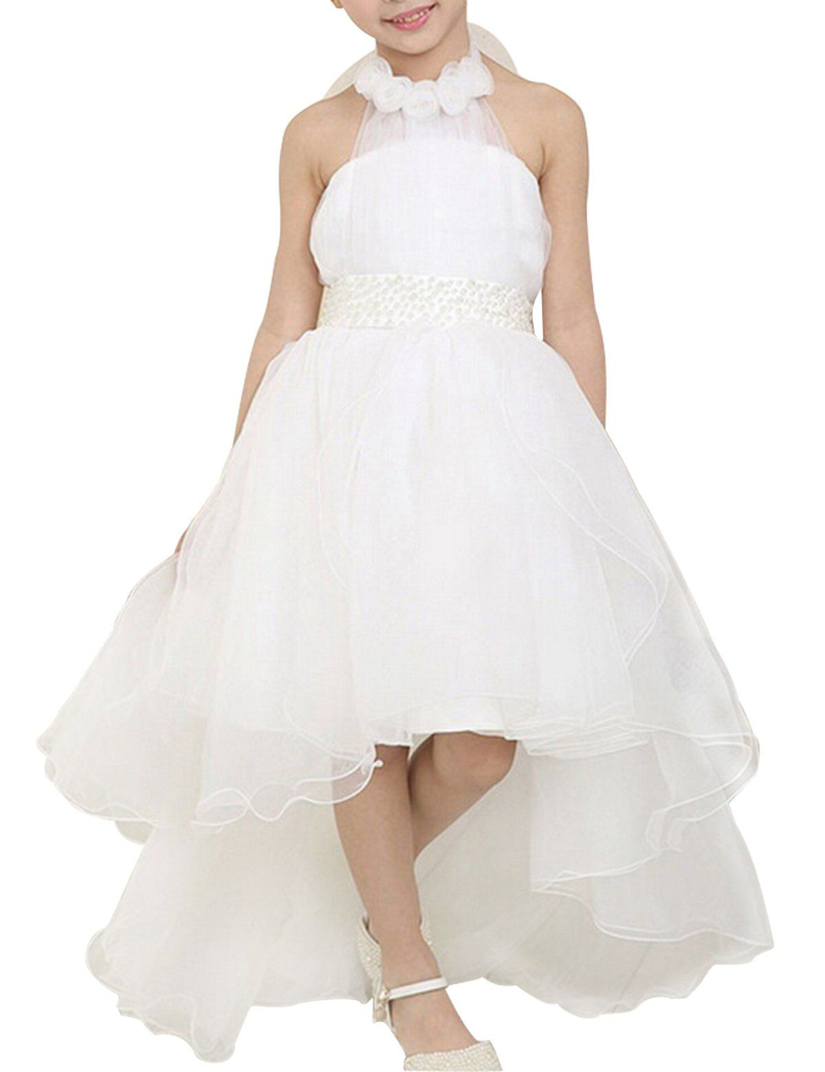 Nnjxd Flowers Wedding Party Tulle Princess Sleeveless Strapless Long Tail Dress Size 7 8 Years White Cotton Lace Blending Table Means Age Ranges