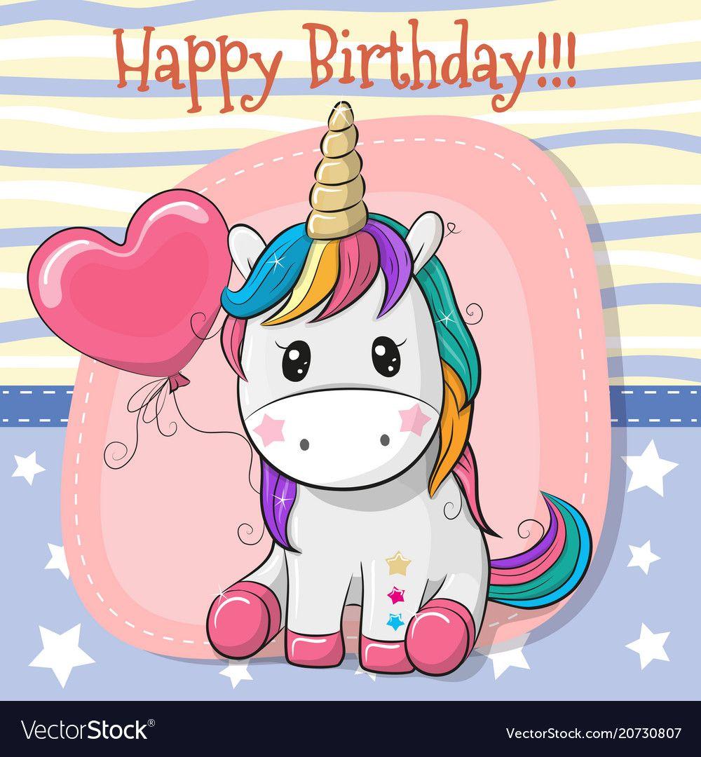 Cute Cartoon Unicorn With Balloon Vector Image On Cartoon