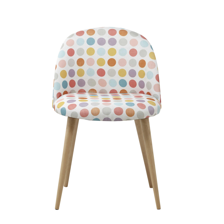chaise vintage motifs pois et bouleau massif huis en. Black Bedroom Furniture Sets. Home Design Ideas