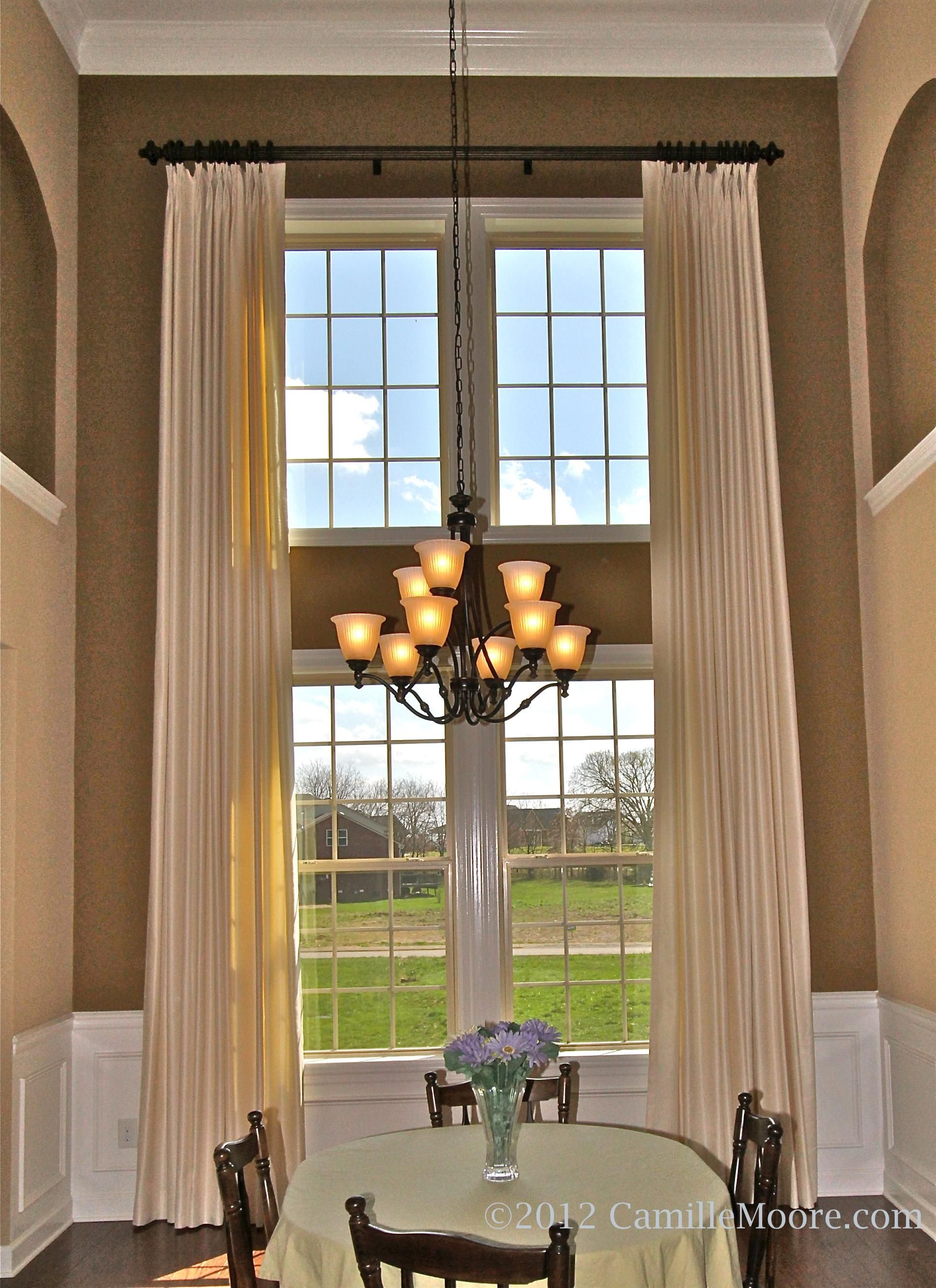 Two Story Draperies White Fabric With Sheen Window Treatments