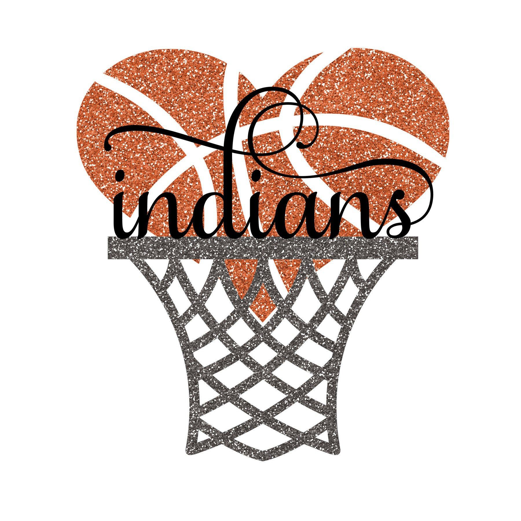 Indians Basketball Heart Hoop With And Without Glitter Svg Png Etsy In 2021 Basketball Shirt Designs Basketball Heart Basketball Mom Shirts
