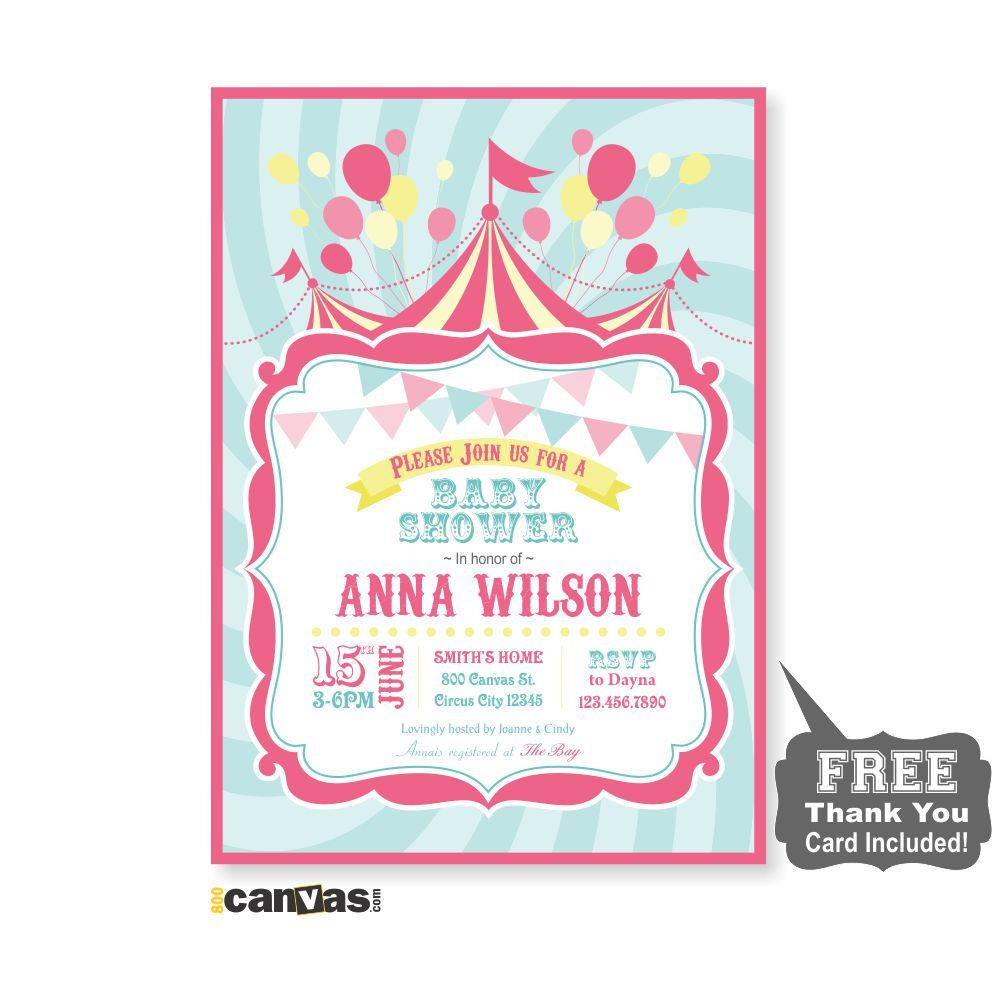 Circus Baby Shower Invitation, Girl Baby Invites, Circus Shower ...
