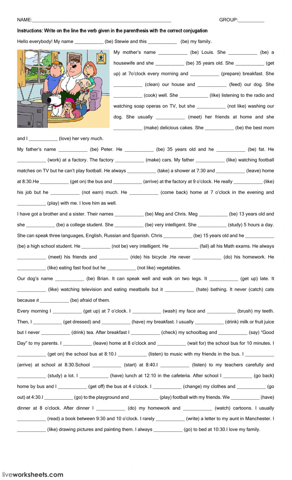 Present Simple interactive and downloadable worksheet