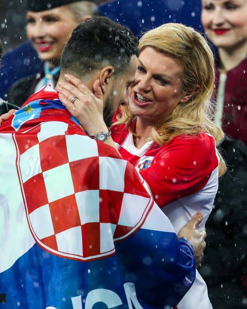 Croatia's President Kolinda GrabarKitarovic at a victory ceremony after the 2018 FIFA World Cup final football match between France and Croatia at...