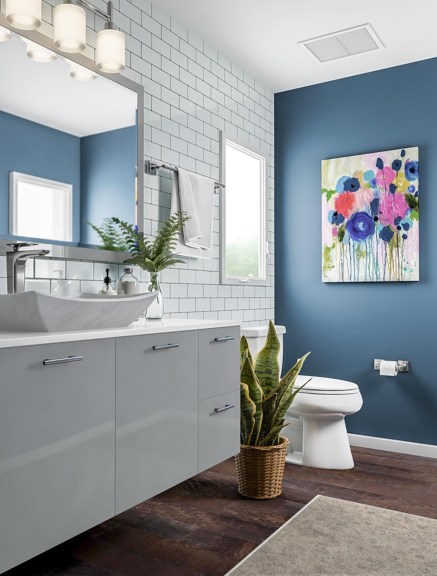 Chic Gray And Blue Bathroom Wood Floor Bathroom Bathroom Colors White Bathroom
