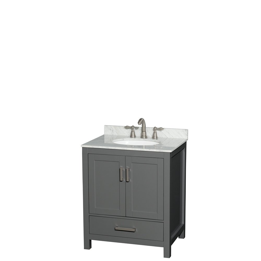 Sheffield 30 Inch Dark Gray Single Vanity Oval Sink No Mirror