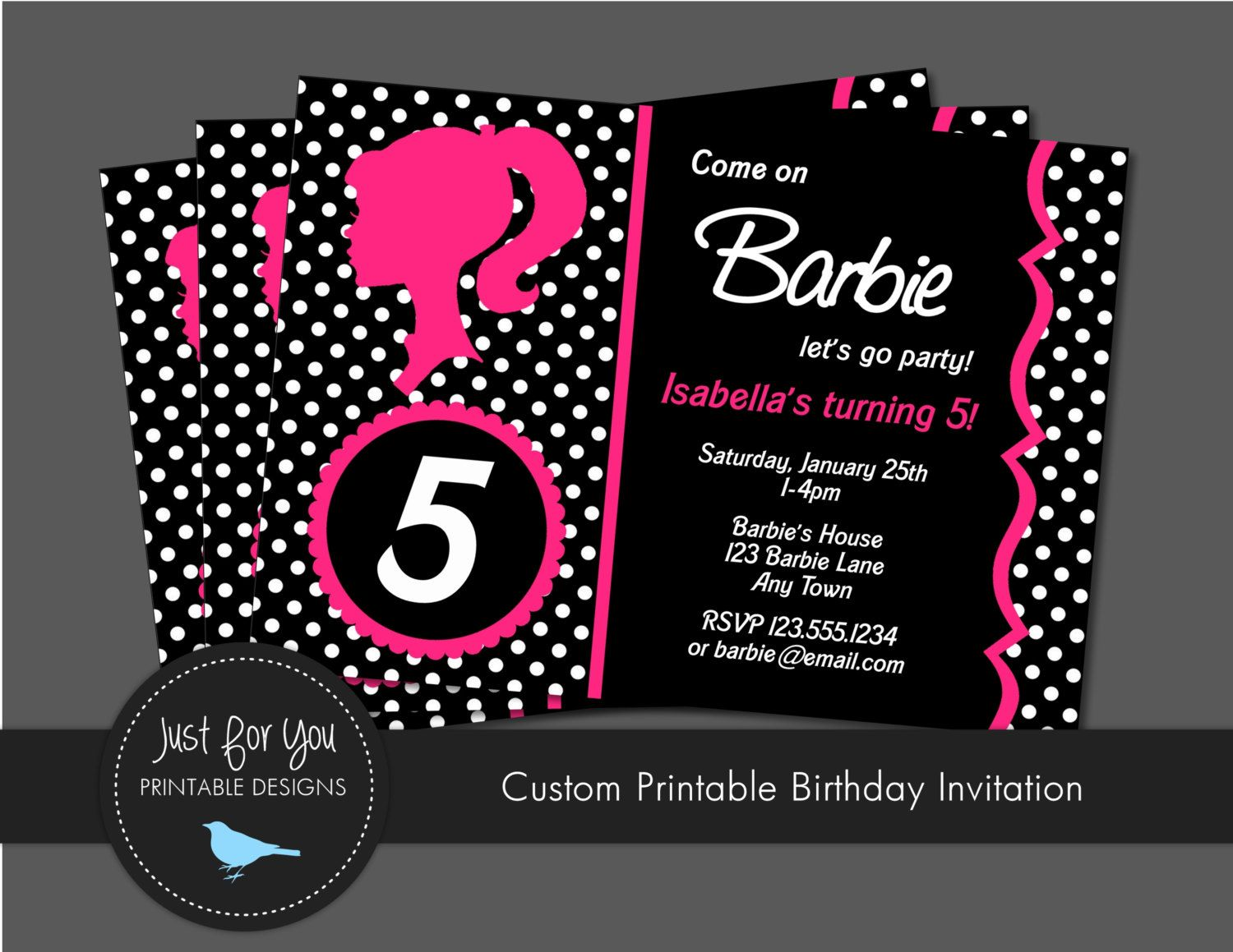 Barbie Invitation Vintage Retro Zebra por 4UPrintableDesigns ...