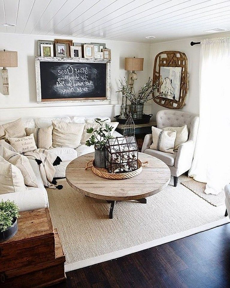 Family Room Design Ideas On A Budget: 41+ Comfy Small Farmhouse Rustic Living Room Decorating