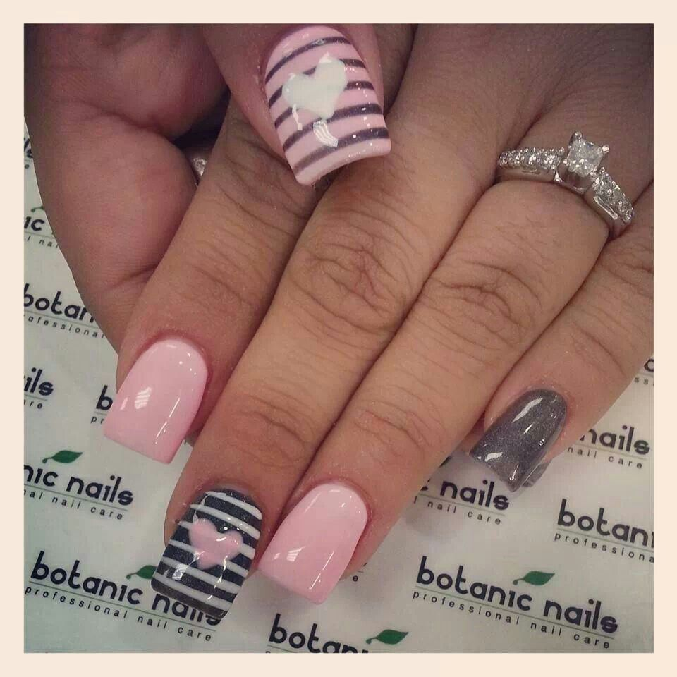Charcoal grey - Soft pink - White - Hearts - Stripes