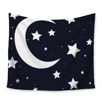 "East Urban Home Moon & Stars Wall Tapestry Size: 50"" H x 60"" W"