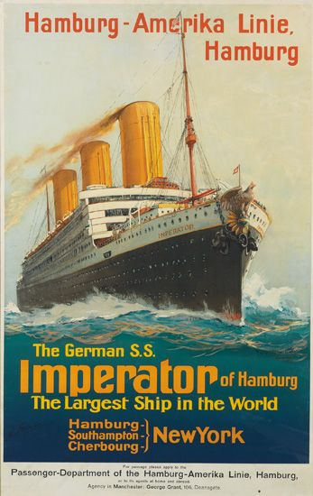 Hamburg - Amerika Linie - The German S.S. Imperator of Hamburg, the largest ship in the world -