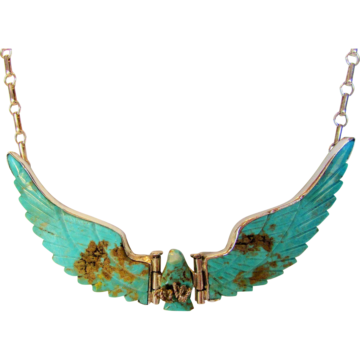 Native American Old Style Large Sterling Silver Turquoise Open Wing Eagle Brooch