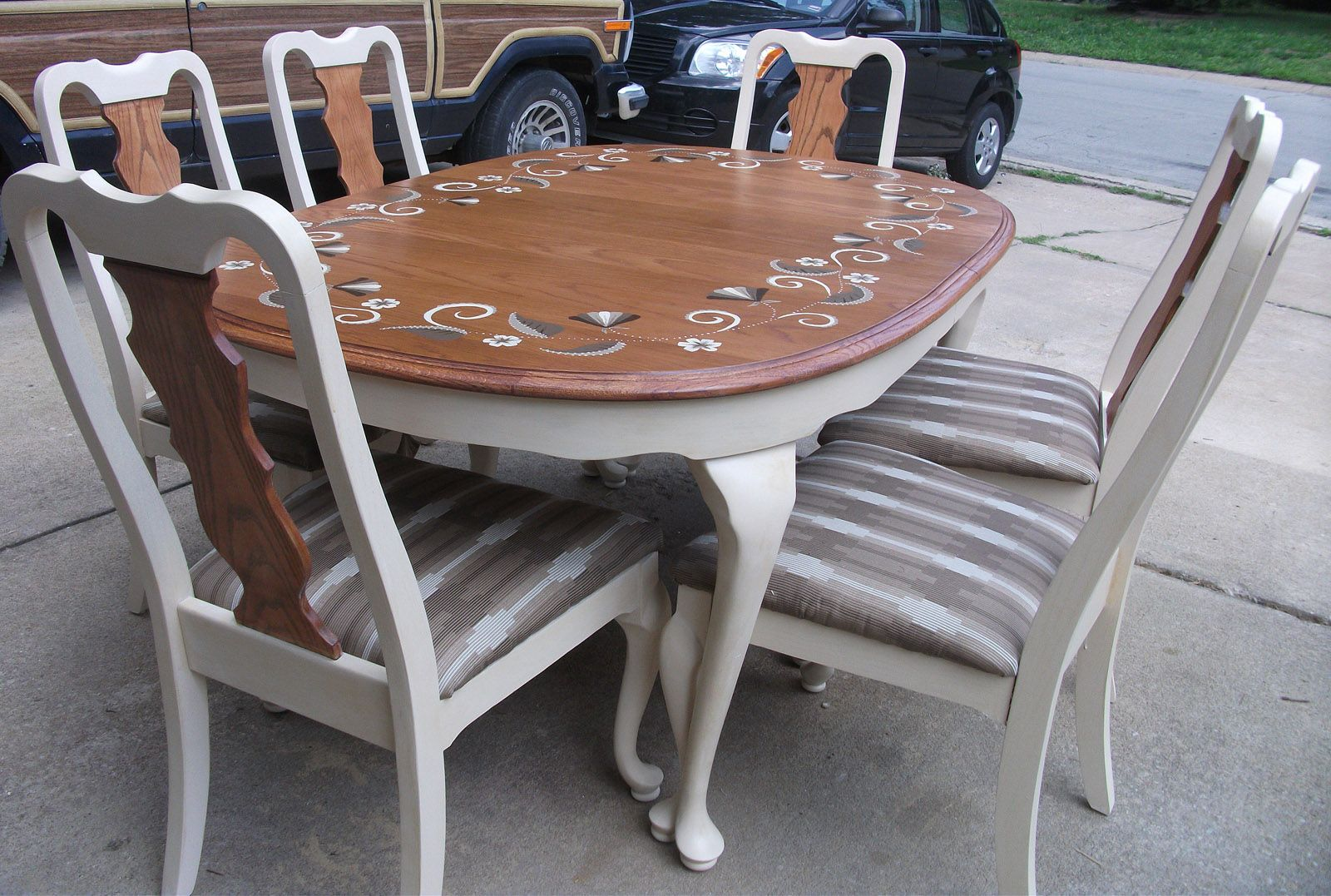 bess dining table with six chairs painted a cream color on hand painted dining room tables id=21620