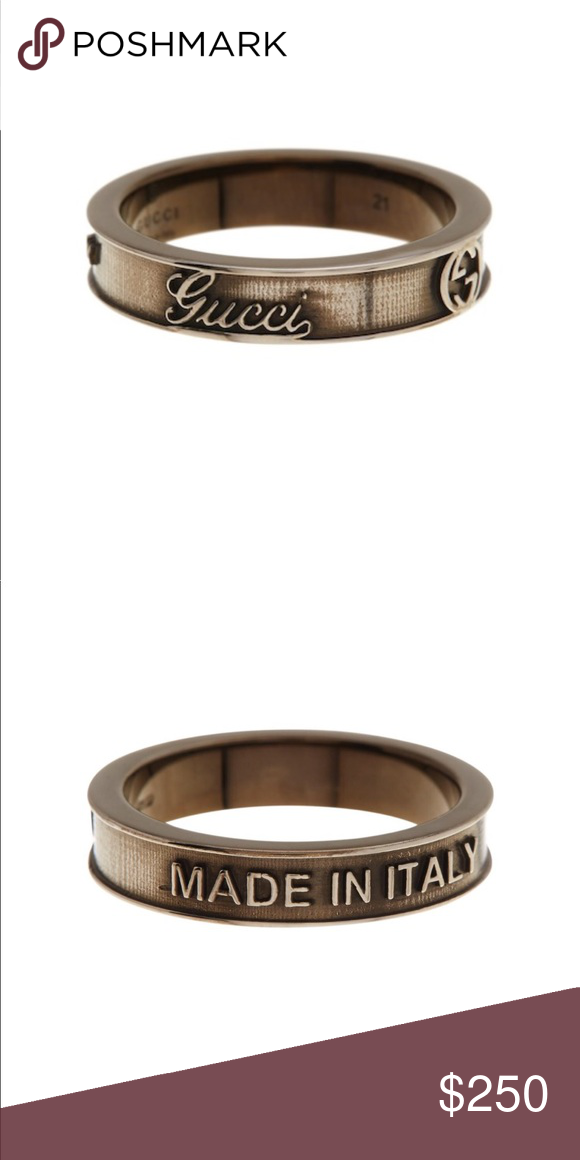 434ddfcd2 GUCCI ring antique finish. Authentic GUCCI Antique finished sterling silver  logo band ring. Size 6.5 /13 European Approx. 5mm band width Made in Italy  ...