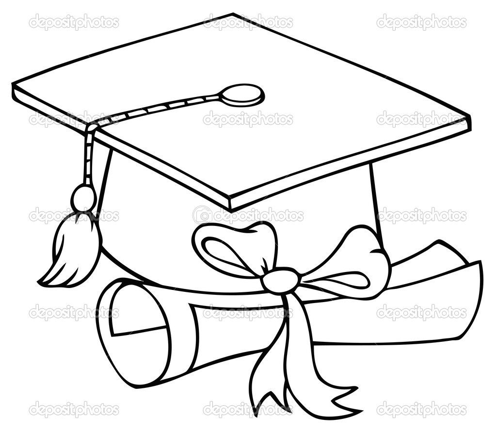 How to draw a graduation cap google search grad cards for Graduation cap and diploma coloring pages