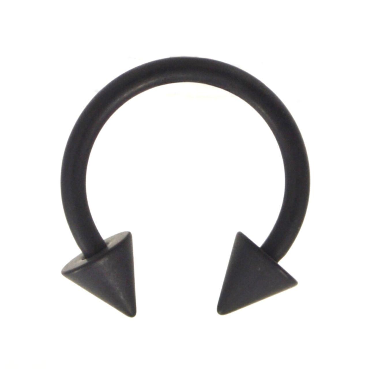 Black Matte Spiked Circular Horseshoe Ring 16g 3 Sizes Septum
