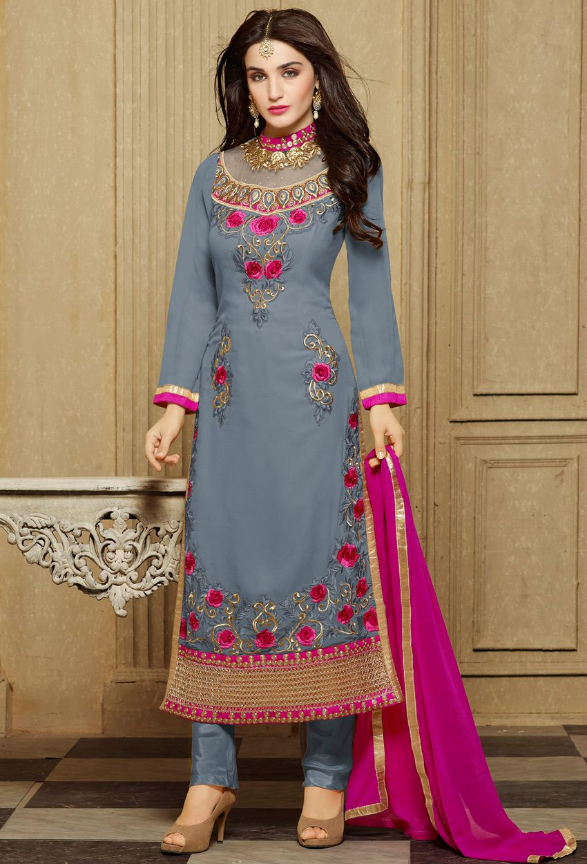 970110261d0  Gray And  Pink  Georgette  Straight  Suit  nikvik  usa  designer   australia  canada  freeshipping  greykamiz  pakistanisuit