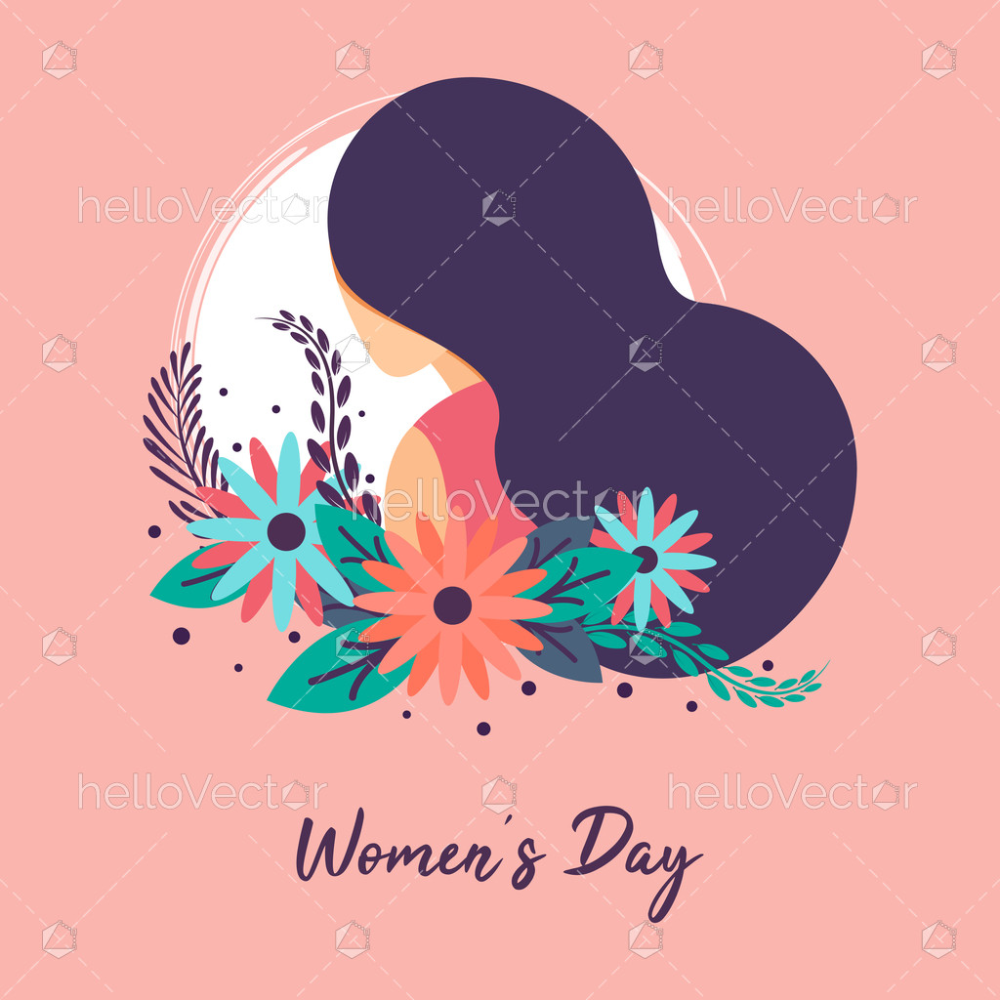 Happy Women S Day Background With Woman Clipart Vector Illustration Download Graphics Vectors Vector Illustration Happy Women Happy Woman Day