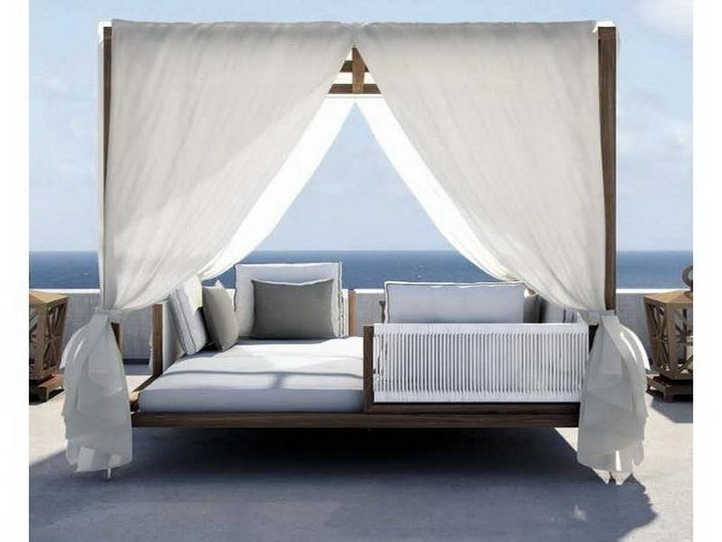 Outdoor Bed wooden canopy bed, canopy bed, tropical vacation | outdoor