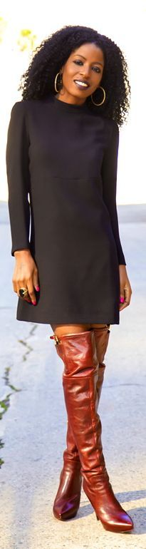 #Little #Black #Dress + #Over The #Knee #Boots