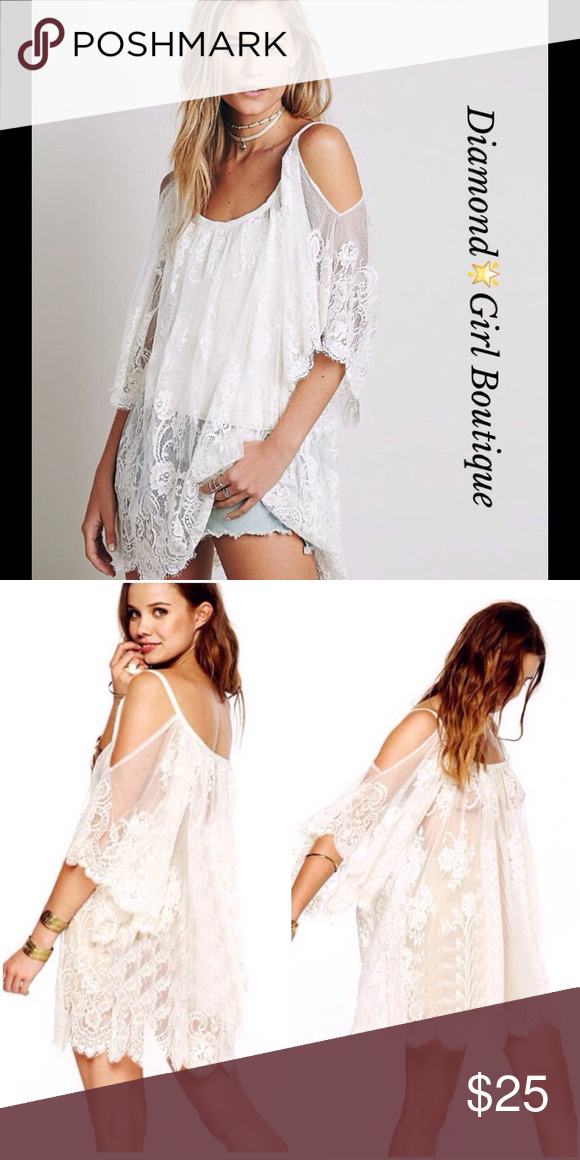 91836a5d2f Bohemian cold shoulder beach dress Perfect cover up in pretty white  lightweight lace, cold shoulder, can be worn as a dress by adding a slip to  it Swim ...
