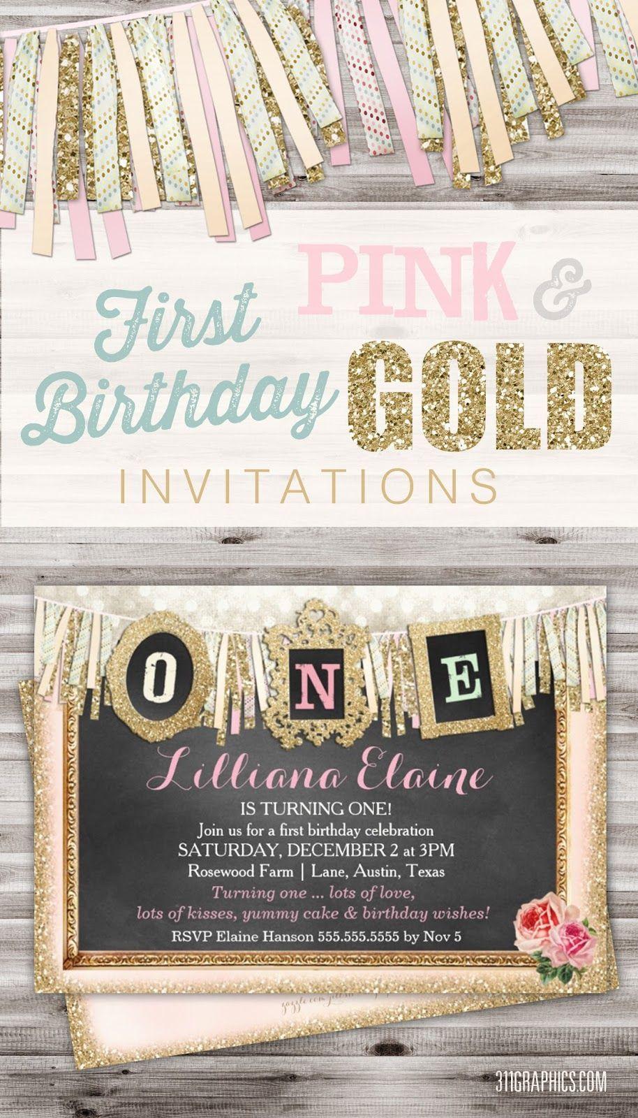 Vintage Girl\'s First Birthday Banner Gold Glitter, first birthday ...