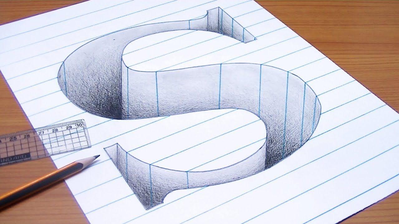 رسم حرف S ثري دي 3d محفور على الورقة خدع بصرية ثري دي 3d Trick Art 3d Art Drawing Diy Art Painting Illusion Drawings