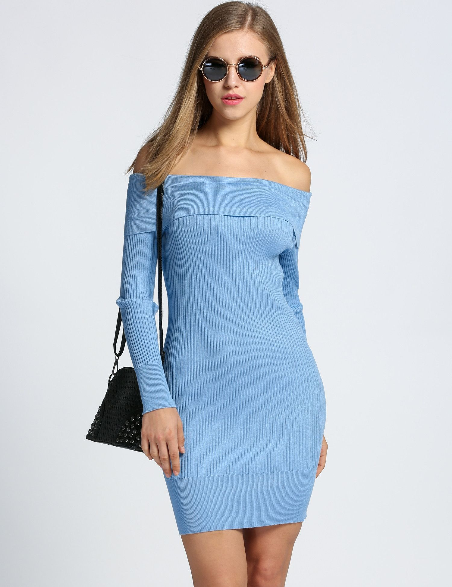 ea5367d9286c Off Shoulder Long Sleeve Bodycon Sweater Going Out Dress