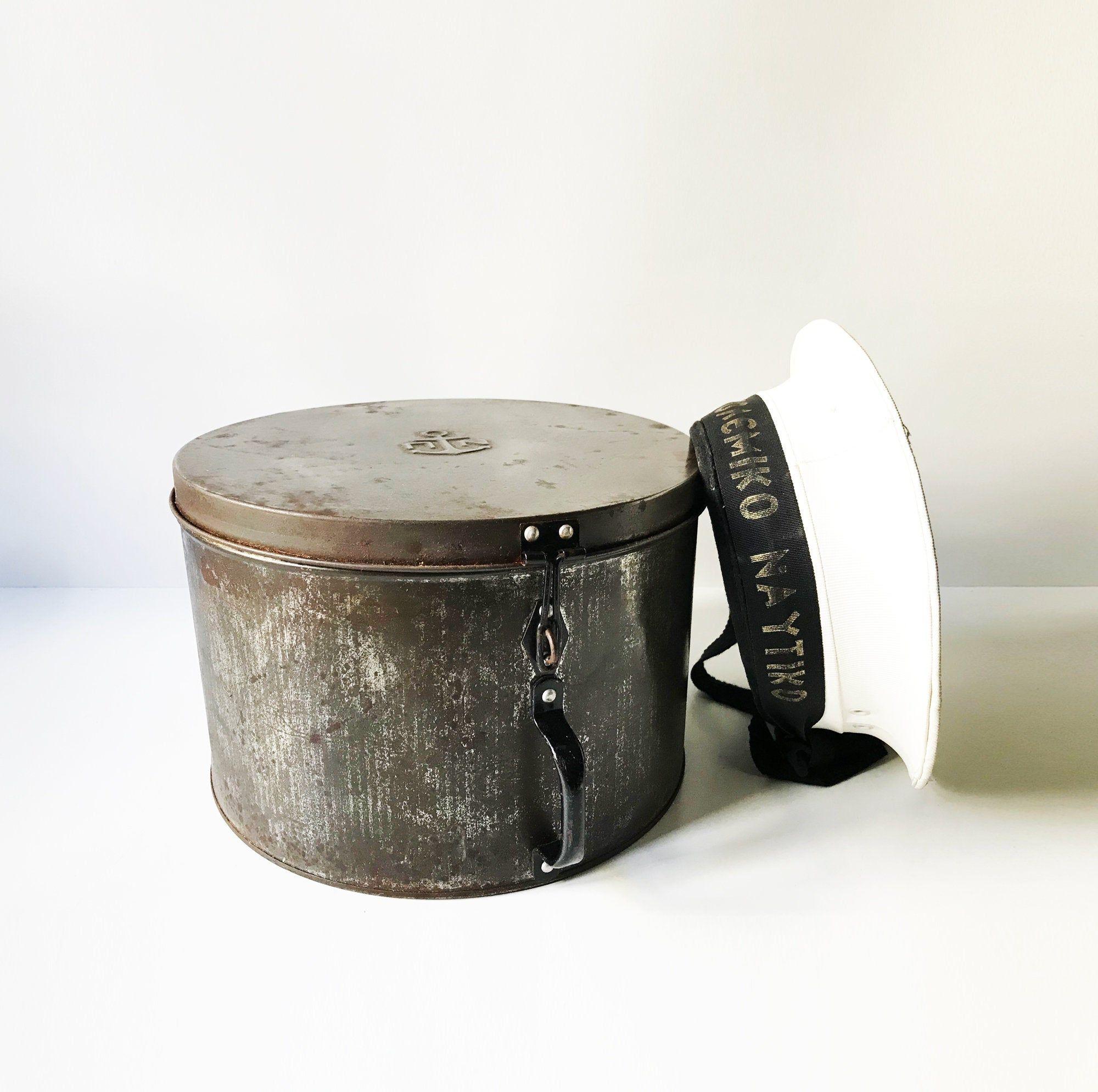 Greece Sailor Vintage Greek Navy Metal Hat Box Hellenic Nautical Military Tin Hat Box Marine Hat Box Captain