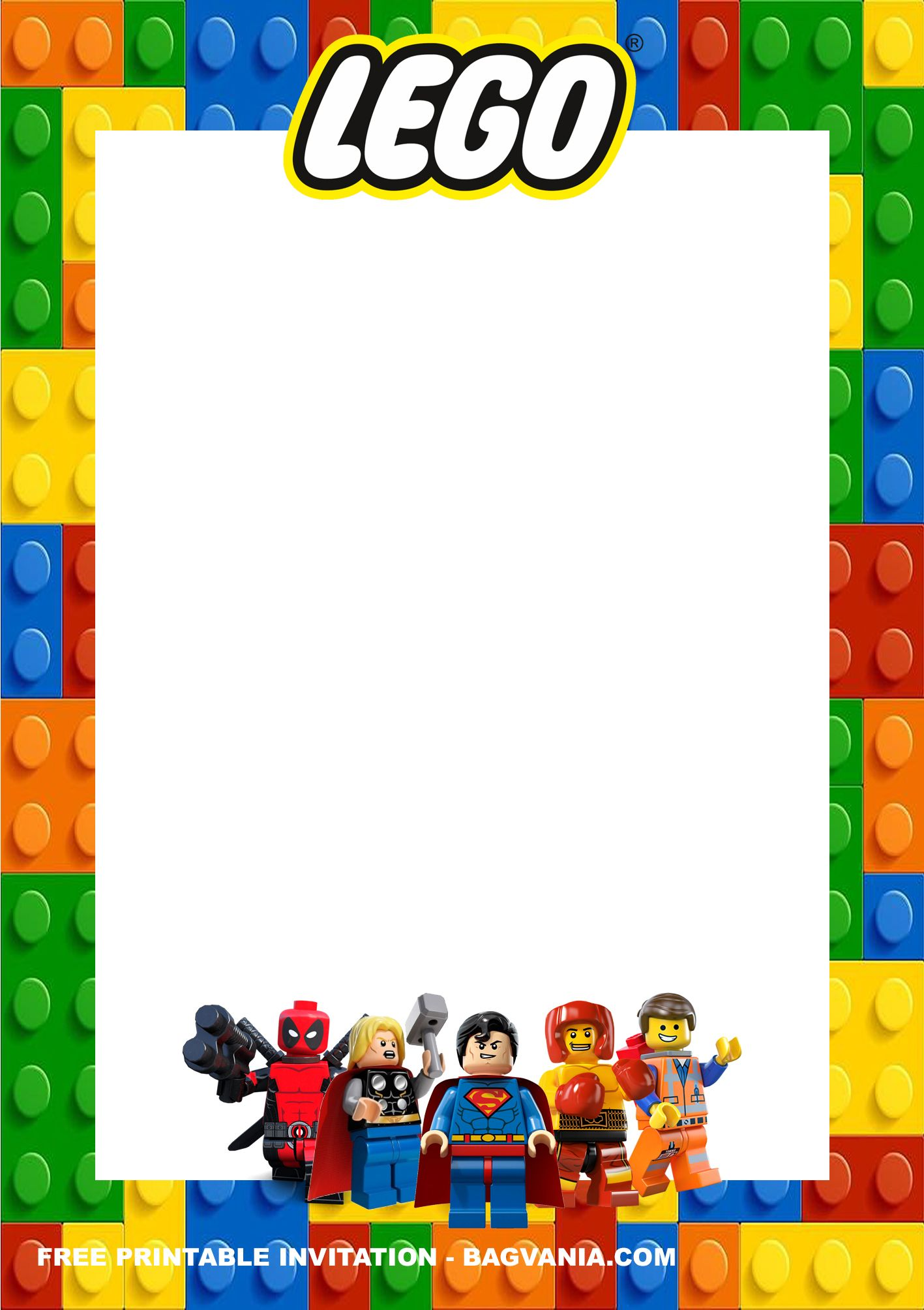 Free Printable Lego Superheroes Birthday Invitation Templates Superhero Birthday Invitations Birthday Invitation Templates Lego Invitations Printable
